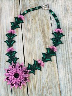Pink Necklace, Seed Bead Necklace, Seed Beads, Beaded Necklace, Mexican Jewelry, Beaded Flowers, Beading Patterns, Beaded Jewelry, Creations