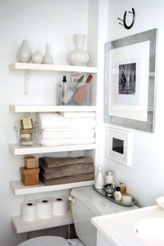 corner shelves to help maximize the space in your bathroom. This is great storage for small bathrooms!