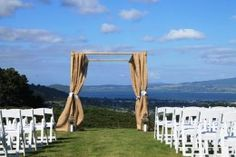 Talk to us about our hessian draping fabric to dress your wedding arch..