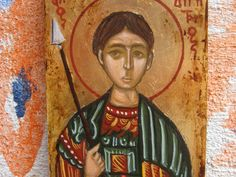 St Dimitrios the Myrrh gusher. The patron saint of Thessalonica and a very favorite grreek orthodox Saint. His name day is on October 26th. The icon was painted according to the old byzantine egg-tempera technique.