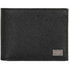 Dolce & Gabbana Men Dauphine Leather Classic Wallet (1.770 VEF) ❤ liked on Polyvore featuring men's fashion, men's bags, men's wallets and black