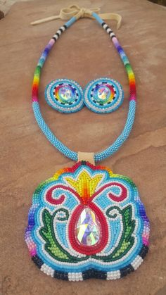 Custom beaded work medallion by Ta'neeszahnii Designs  Follow her on Instagram  asdzaataneeszahnii and like her FB page at Ta'neeszahnii Designs