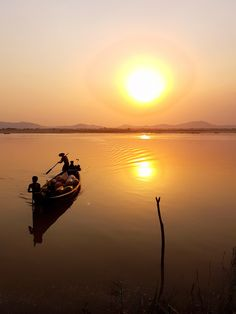 Boat at Irrawaddy River during sunset, Bagan Myanmar - Asia