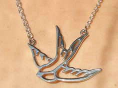 Silver Swallow Tattoo Necklace