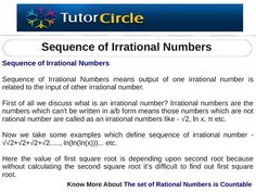 Sequence of Irrational Numbers Irrational Numbers, Number Sequence, Number 2, Writing, Being A Writer