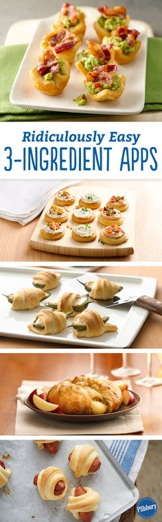 Ridiculously Easy 3-Ingredient Appetizers -- We're talking three-ingredient apps anyone can make, and everyone will love! You have to try these flavorful bites of deliciousness. Recipes include: Bacon-Guacamole Crescent Cups, Easy Jalapeño Poppers, Creamy Herb Crescent Bites and Crescent-Wrapped Brie to name a few.