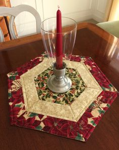 Christmas Red & Green Quilted Hexagon Table Runner, Candle Mat, Table Topper - reversible