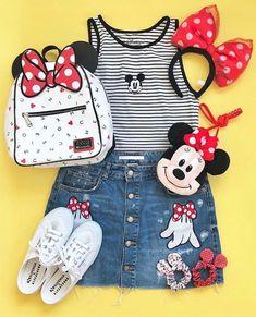 Amazing Minnie Mouse outfit to wear to Magic Kingdom! Walt Disney World // Disney Style // Disney Tee // Disney Outfit // Wear to Disney Cute Disney Outfits, Disney World Outfits, Disney Themed Outfits, Disneyland Outfits, Cute Outfits, Teen Fashion Outfits, Outfits For Teens, Mickey Mouse Outfit, Minnie Mouse