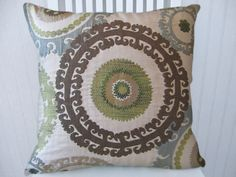Blue Brown Suzani Decorative Pillow x 20 Gorgeous Throw Pillow--Slate Blue, Green, Taupe, Cream, Brown Decorative Pillow Covers, Decorative Throw Pillows, Paint Color Schemes, Paint Colors, Pillow Fight, Pillow Talk, 20x20 Pillow Covers, Pillow Room, My Living Room