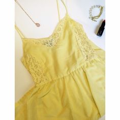 ✨Host Pick✨ Happy Yellow Dress with Lace Great spring dress! I purchased this from H&M and it was originally a full length dress but I had it hemmed to my knees for a special occasion. In absolutely perfect condition! Side zipper. Size small/medium. Tagged at size 6. Not much stretch! The skirt is fully lined. Color is best matched to first photo! Host Pick Date Night Party 2/21/15! No trades or Paypal H&M Dresses