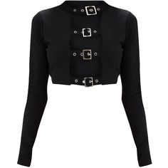 Black Buckle Front Longsleeve Crop Top ($30) ❤ liked on Polyvore featuring tops, cut-out crop tops, crop top, long-sleeve crop tops and long sleeve tops