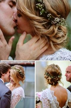 This is very pretty too. A well-placed crown of flowers could work beautifully with a veil. haarkranz Brautzilla 2015 - to be continued Wedding Hair And Makeup, Wedding Beauty, Bridal Hair, Dream Wedding, Wedding Day, Hair Wedding, Wedding Flowers, Casual Wedding Hair, Boho Wedding