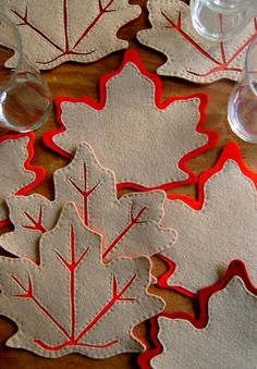 Felt Leaves Coasters, The Best of Thanksgiving Projects! - the purl bee, Felt Crafts, Fabric Crafts, Sewing Crafts, Diy And Crafts, Sewing Projects, Craft Projects, Arts And Crafts, Craft Ideas, Knitting Projects