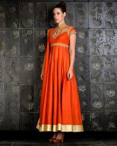 Orange Kalidar with Embroidered Yoke