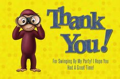 Curious George Thank You Card by KettleCreekDesign on Etsy https://www.etsy.com/listing/216140708/curious-george-thank-you-card