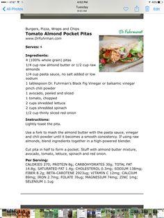 Tomato almond pocket pitas