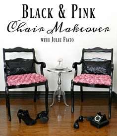 """Remember when Danny wore black & pink to the prom? I fell in love with him it THEN. I was 10 and my Mom & Dad took me to see the movie """"Grease"""". Danny was so smooth, and charming. Add a little romantic chic & feminine and BOOM…you have my """"Black & Pink Chair Makeover"""".... Read More »"""