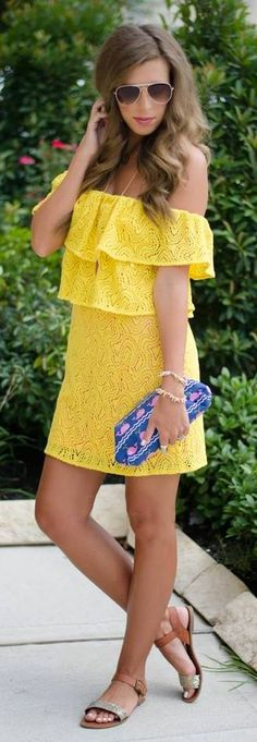 Off shoulder yellow dress