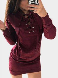 Burgundy Long Sleeves Lace-up Design Dresses