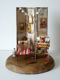 """Hand-made miniature scene 1:12 scale """"Vanitas"""" by Pequeneces on Etsy"""