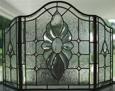 Fold Pewter Leaded Glass Fireplace Screen Lead Glass Fireplace