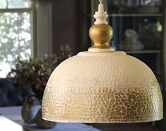 Hammered Metal Hanging Pendant Light Antique White Gold Dining Room Kitchen Bedroom Lighting Boho Shabby Chic Modern Fixture -MySecretLite
