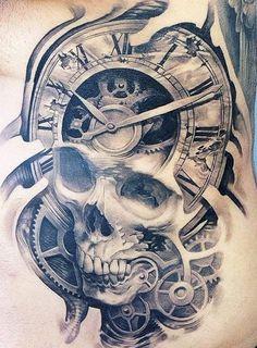 Skull time tattoo
