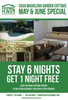 MAY  JUNE SPECIAL - stay 6 nights at Casa Madalena garden cottage, in Pinelands, Cape Town South Africa, during may or june and get 1 night free :) Perfect affordable family holiday accommodation.  EMAIL LISA at franksplacessa@gmail.com or lisa.mds@gmail.com for more info
