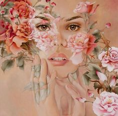 Woman's face & flowers art