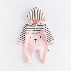 Adorable Stripes Bear Hooded Jumpsuit for Baby