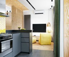 Effective Layouts For Super Small Homes Under 30sqm A Single Man, Bedroom Alcove, Yellow Tile, Small Studio Apartments, Interior Architecture, Interior Design, Yellow Bathrooms, Green Curtains, Small Dining