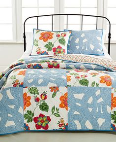 CLOSEOUT! Martha Stewart Collection Wave Garden Quilts (Only at Macy's) - Quilts & Bedspreads - Bed & Bath - Macy's