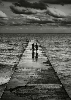 To the Sea, bridge, mysterious, people, 2, bridge, waves, water, symbolic, mysterious, clouds, Ocean view, beautiful, stunning, panorama, photograph, photo b/w.