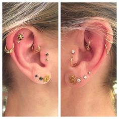 One of our favorite clients Sandrine has adorned her lobes with us over the past few years. A collaboration between all of our amazing piercers and a mixture of some of the beautiful jewelry that we carry here at Braindrops! @paulshinichi @mateoway @kingdayday415