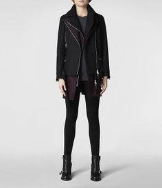 Womens Holt Biker Coat (Black/Oxblood) | ALLSAINTS.com  Totally would buy this! :D