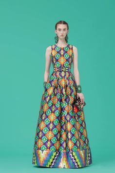 Andrew Gn | Resort 2017 | 10 Multicolored printed belted sleeveless maxi dress