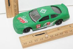 "GOLDEN WHEEL MOUNTAIN DEW RACE GREEN CAR 4.25""TOY RACING VEHICLE 38 NEEDS REPAIR #GoldenWheel"