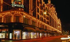 Harrods departmant store at night - worked here