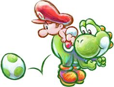 #Yoshi squatting one out in Yoshi's New Island on #3DS. While #BabyMario watches on. Huge gallery of #YoshisNewIsland at http://www.superluigibros.com/yoshis-new-island-3ds-artwork