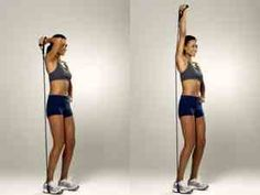 Home Resistance Band Tricep Extension Best Resistance Bands, Resistance Workout, Resistance Band Exercises, Arm Exercises, Tricep Workout Women, Triceps Workout, Tummy Workout, Fat Workout, Fat Burning