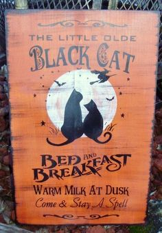 CATS Halloween Decorations Primitive Black Cats bed and breakfast witches signs by Halloweenwhimsy, $35.00