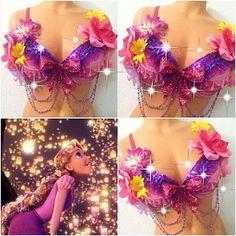 Tangled: Rapunzel Rave Bra by TheLoveShackk on Etsy Rave Costumes, Festival Costumes, Festival Outfits, Festival Fashion, Diy Corset, Halloween Karneval, Mermaid Bra, Diy Bra, Edm Outfits