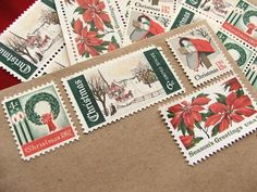Vintage stamps add a nostalgic touch to holiday cards. $6.25.