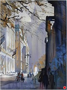 Chambers Street--NYC, watercolor by THomas Schaller. Accepted into the AWS Annual International Exhibition Watercolor City, Watercolor Sketch, Watercolor Artists, Watercolor Techniques, Watercolor Landscape, Landscape Paintings, Watercolor Paintings, Watercolours, Watercolor Portraits