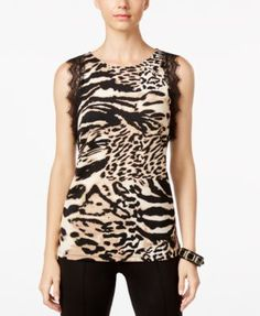 INC International Concepts Animal-Print Lace-Trim Top, Only at Macy's