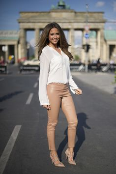 Crushing on nude! Silky white blouse with nude leather pants and Valentino's nude rockstud pumps.