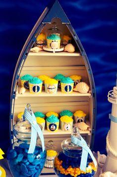 nautical themed dessert table, candy buffet