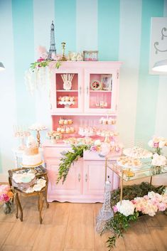 Don't miss this wonderful Parisian Flower Shop Birthday Party! The pink cabinet is so pretty!! See more party ideas and share yours at CatchMyParty.com #french #vintage #floral