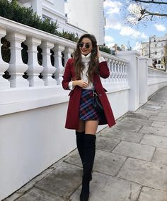 plaid skirt over the knee boots black boots red coat white sweater turtlen. skirt plaid skirt over the knee boots black boots red coat white sweater turtlen. Cute Casual Back To School Outfits for high school Girls Paris Outfits, Winter Fashion Outfits, Autumn Fashion, Holiday Outfits, Paris Winter Fashion, Preppy Winter Outfits, Cute Christmas Outfits, Casual Winter, Winter Party Outfits