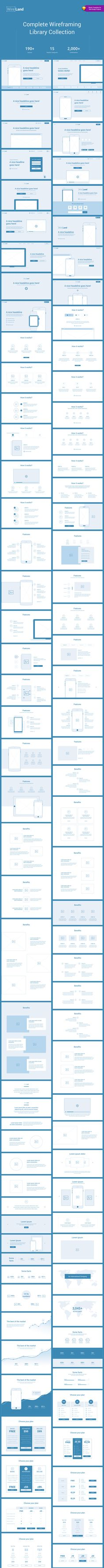 Wireland – is a Complete Wireframing Library Collection optimized to structure web design projects really fast and easy while getting great results. This library consist on 190+ ready-to-use layout sections divided into 15 popular content categories.  Excellent for Landing Pages and any kind of Web design Projects.  Web Navigation, Navbar, Header Styles.